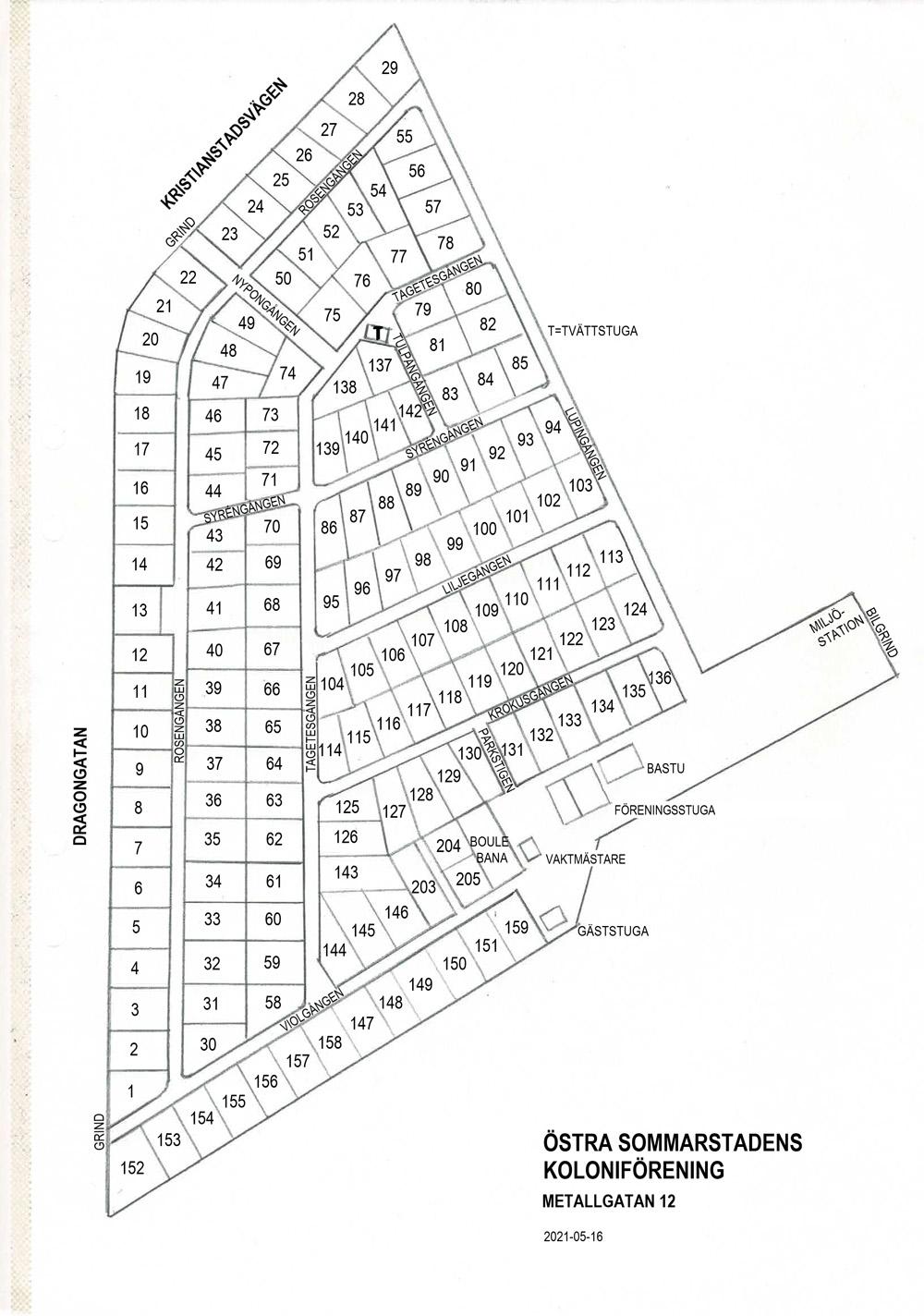 plan över Östra Sommarstadens koloniområde